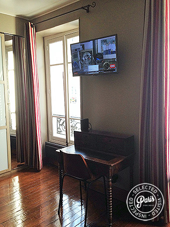 Desk and Flat screen TV at Rue Cler, Paris flat rental, Eiffel Tower