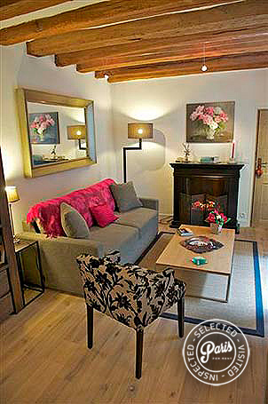 Living room with antique beams at Quai Notre Dame, Paris flat rental, Latin Quarter
