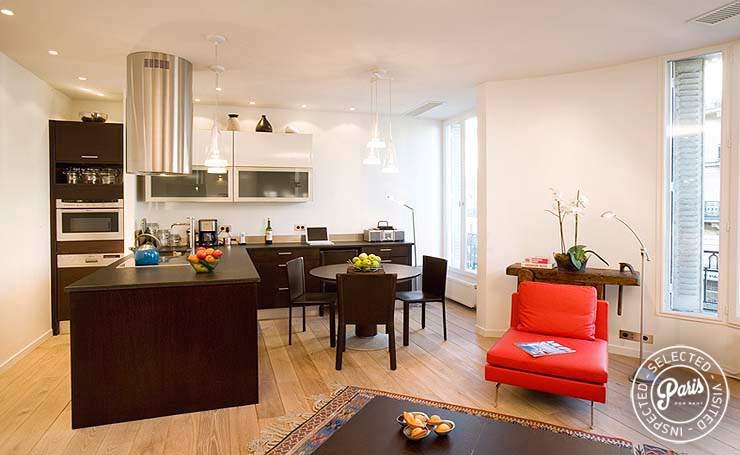 Open kitchen at Four, apartment for rent in Paris, Saint Germain