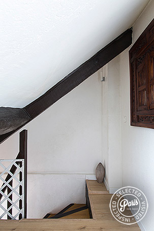 Inner stairway to bedrooms at Bourg 2, apartment for rent in Paris, Marais
