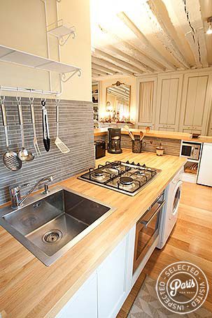 Fully equipped kitchen at Marais Elegance, apartment for rent in Paris, Marais