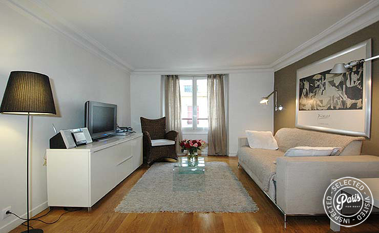 Sofa bed for two guests at Place Bourg, apartment for rent in Paris, Marais