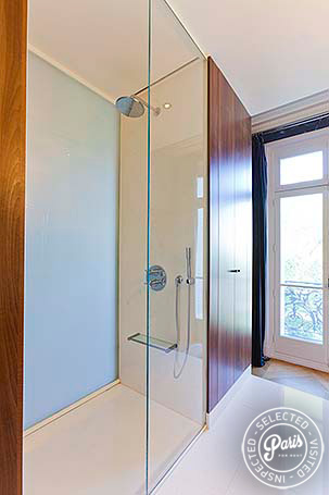 Stand-up shower at Notre Dame Royal, apartment for rent in Paris, Latin Quarter