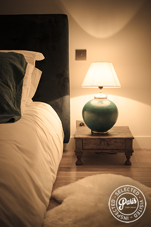 Bedside lamp in second bedroom at St Germain Chic, Paris vacation rental, Saint Germain