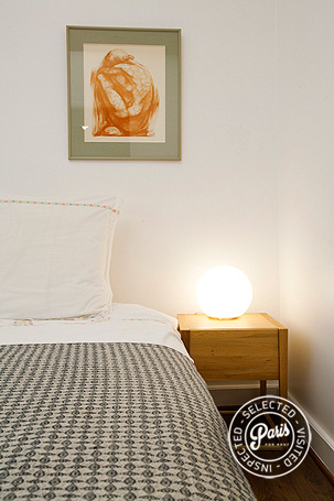 Nightstand in bedroom at Seine, vacation rental in Paris, Saint Germain