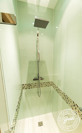 Bathroom with rain shower at Latin Quarter Loft, Paris apartment rental, Latin Quarter