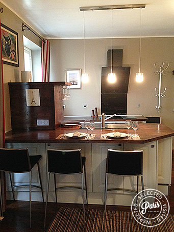 Dining area in Kitchen at Rue Cler, vacation rental in Paris, Eiffel Tower