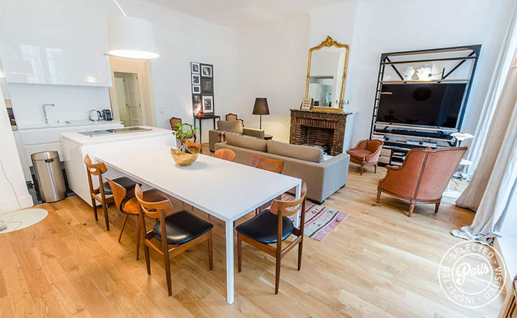 Cheerful living area at St Germain Charm, apartment rental in Paris, Saint Germain