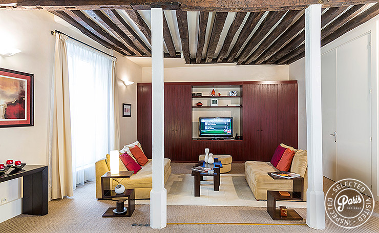 17th century exposed beams in living room at St Germain Gem, Paris vacation rental, Saint Germain