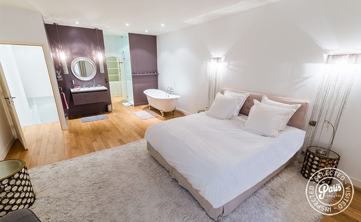 Comfort king bed at Latin Quarter Loft, Paris apartment rental, Latin Quarter