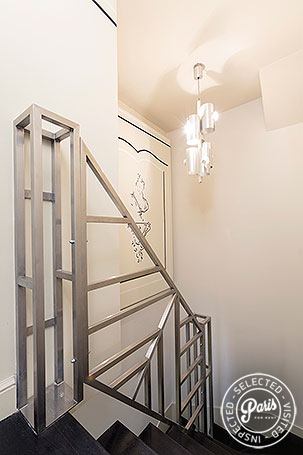 Stairs to bedrooms at Anjou Palace, apartment for rent in Paris, Madeleine