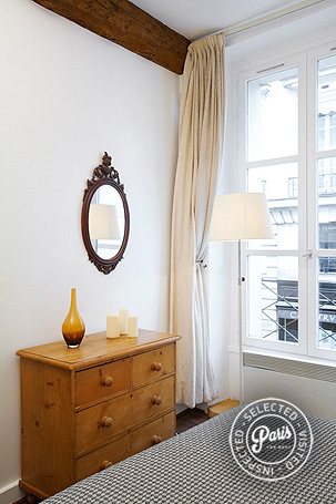 wooden drawer in bedroom at Seine, apartment for rent in Paris, Saint Germain