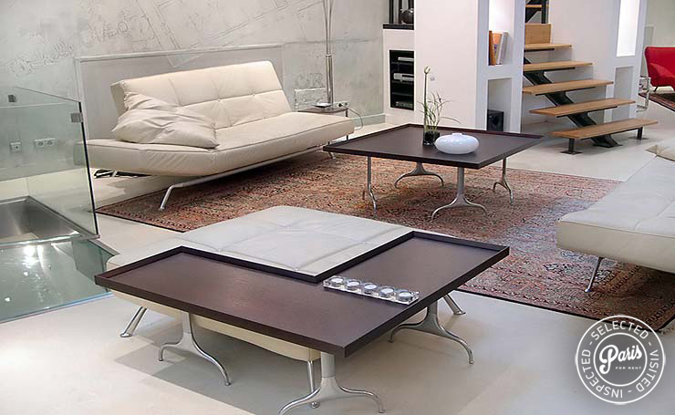 Modern low table at Movie Loft, apartment for rent in Paris, Opera-Vendome