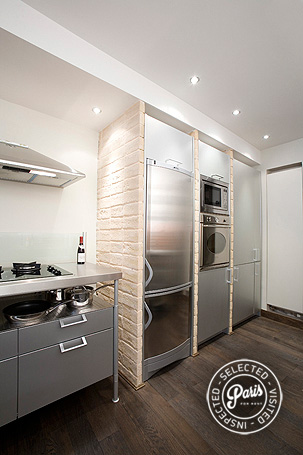Stainless steel appliances in kitchen at St Germain Eden, Paris vacation rental, Saint Germain
