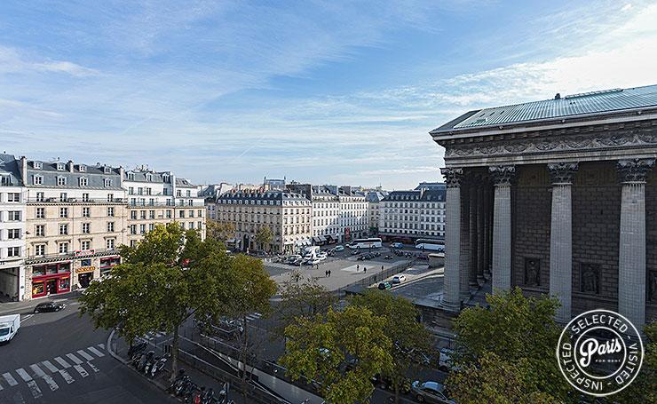 View of Place de la Madeleine from Madeleine Terrace, Paris flat rental, Opera-Vendome