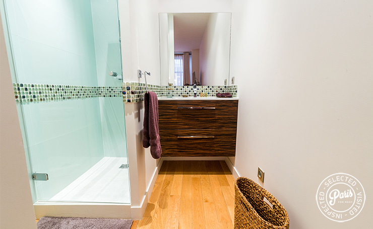 Bathroom with stand-up shower at Latin Quarter Loft, Paris apartment rental, Latin Quarter