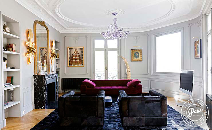 Lounge with flat screen TV at Notre Dame Royal, Paris vacation rental, Latin Quarter