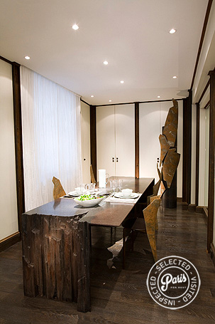 Modernist design dining table and chairs at St Germain Eden, paris vacation rental, Saint Germain