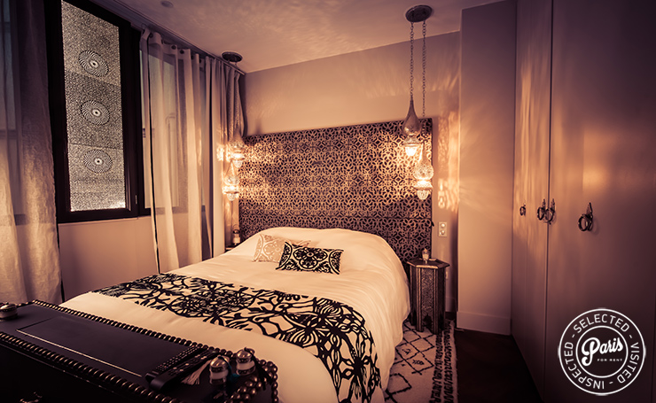 Moroccan style bedroom at St Germain Chic, apartment for rent in Paris, Saint Germain