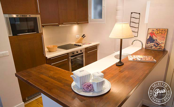 Fully equipped kitchen at Marais Rooftops 2, Paris flat rental, Marais