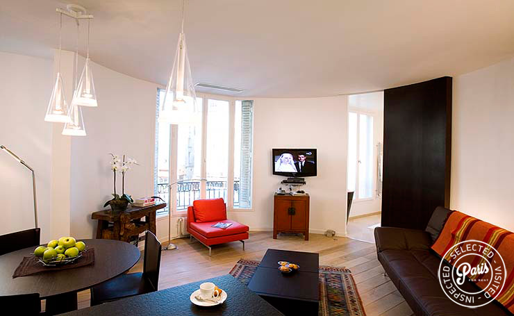 Living room at Four, apartment for rent in Paris, Saint Germain