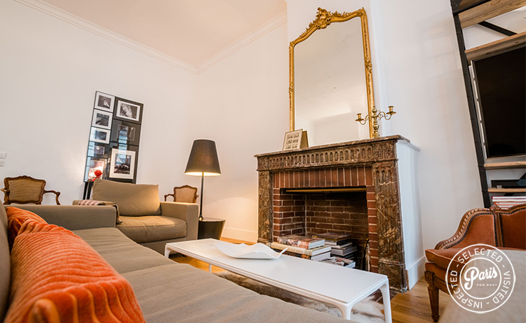 Coin salon at St Germain Charm, apartment for rent in Paris, Saint Germain