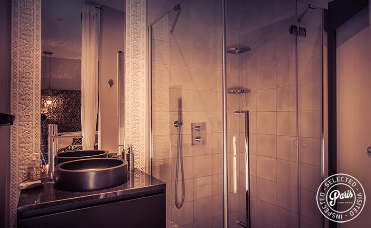 Bathroom with stand-up shower at St Germain Chic, apartment rental in Paris, Saint Germain