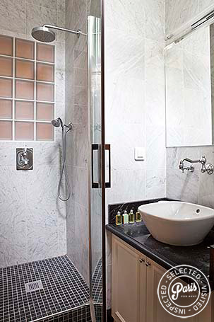Bathroom in attached studio at Pantheon, Paris vacation rental, Latin Quarter
