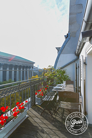 Terrace with seating area at Madeleine Terrace, Paris apartment rental, Opera-Vendome