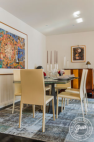 Dining room at Anjou Palace, apartment for rent in Paris, Madeleine