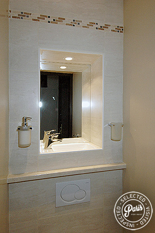 Washbasin in toilet at Bourg Suite, Paris vacation rental, Marais
