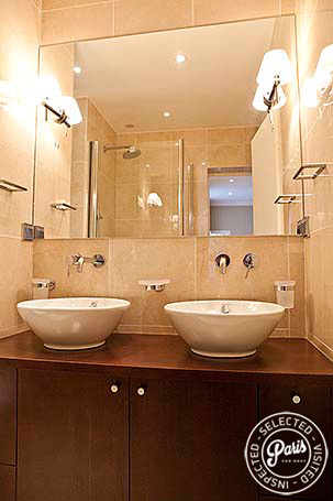 Dual washbasins in master bathroom at Pantheon, apartment for rent in Paris, Latin Quarter
