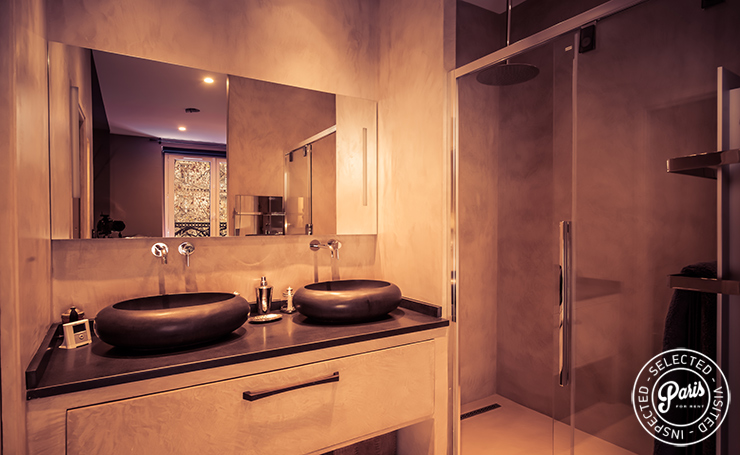 Modern dual washbasin at St Germain Chic, apartment rental in Paris, Saint Germain