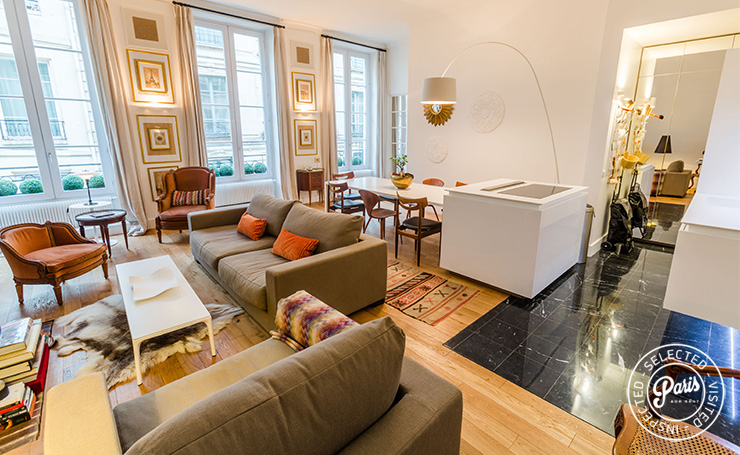 Sofa and armchairs at St Germain Charm, apartment for rent in Paris, Saint Germain