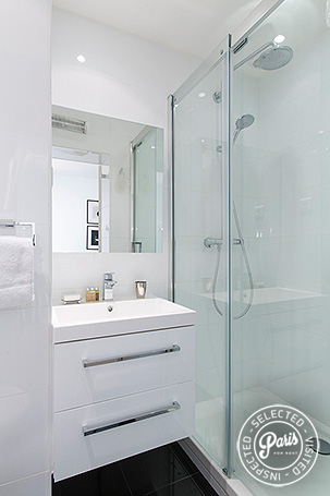 Bathroom with stand-up shower at St Germain Grenelle, Paris vacation rental, Saint Germain