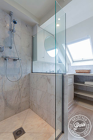 Shower in bathroom at Anjou Palace, vacation rental in Paris, Madeleine