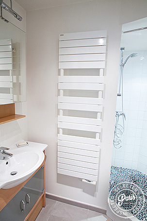 Bathroom with stand-up shower at Marais Elegance, Paris vacation rental, Marais