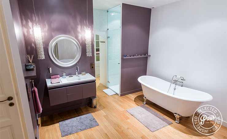 Claw-foot bathtub at Latin Quarter Loft, Paris apartment rental, Latin Quarter