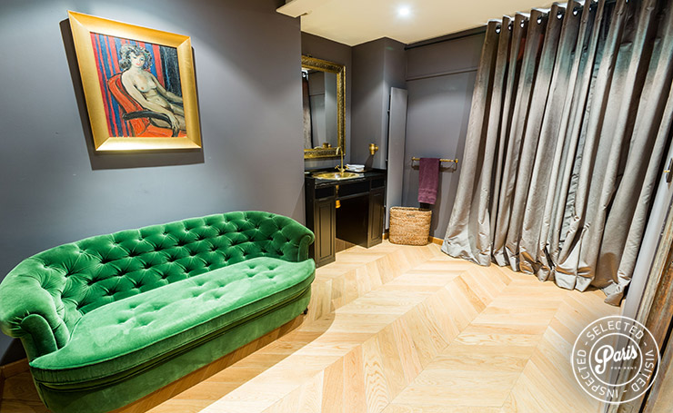 Stylish settee at Latin Quarter Loft, apartment for rent in Paris, Latin Quarter