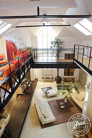 Multiple skylights at Movie Loft, apartment for rent in Paris, Opera-Vendome