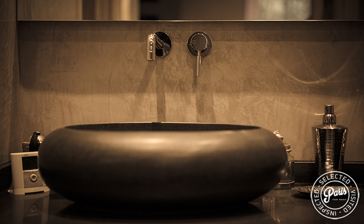 Modern washbasin at St Germain Chic, apartment rental in Paris, Saint Germain