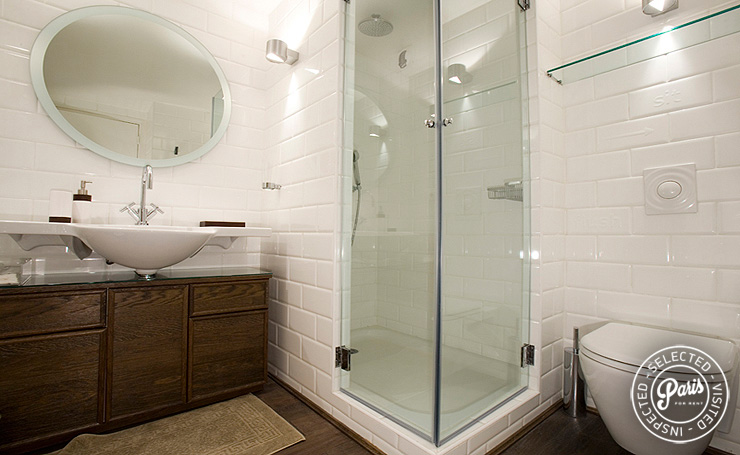 Rain-style shower in master bathroom at St Germain Eden, Paris vacation rental, Saint Germain