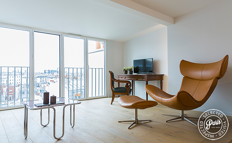 Contemporary armchair at Marais Skyline, Paris flat rental, Marais