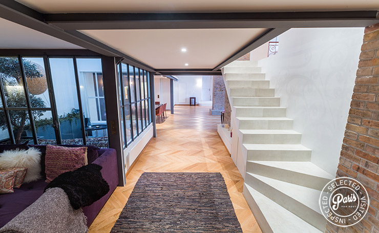 stairs to bedrooms at Latin Quarter Loft, Paris vacation rental, Latin Quarter