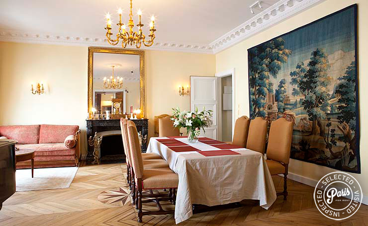 Dining room at Pantheon, apartment for rent in Paris, Latin Quarter