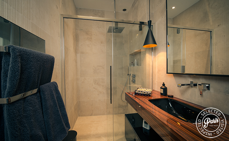 Bathroom with Italian shower at St Germain Chic, apartment rental in Paris, Saint Germain