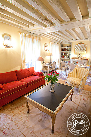 Salon at Marais Elegance, apartment for rent in Paris, Marais
