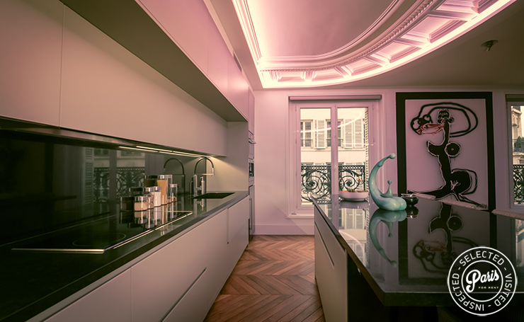 Fully equipped kitchen at St Germain Chic, Paris apartment rental, Saint Germain