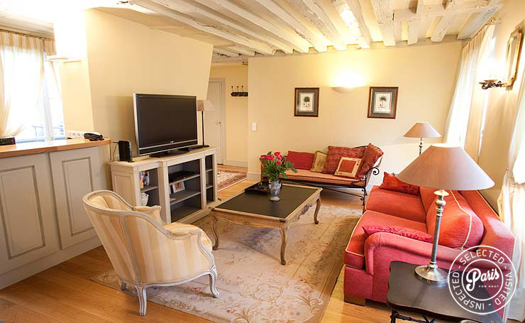 Lounge with TV at Marais Elegance, apartment for rent in Paris, Marais