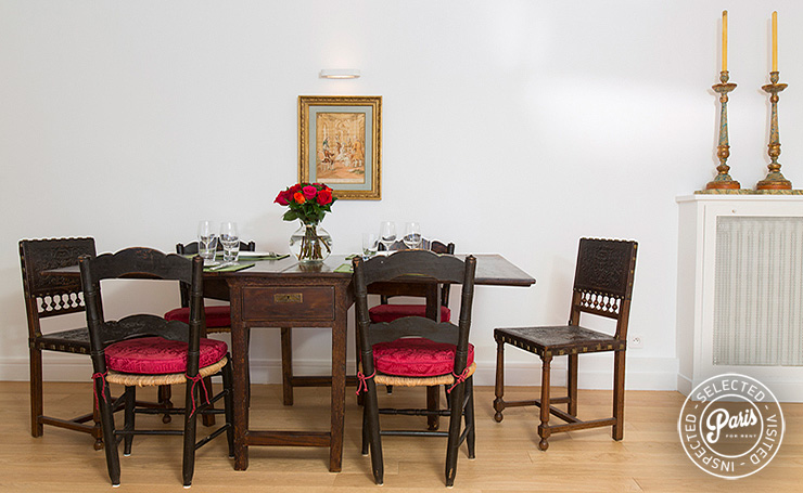 Dining area at St Germain Grenelle, apartment for rent in Paris, Saint Germain